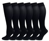 6 Pairs Pack Women Knee High Trouser Socks Opaque Stretchy Spandex (Many Colors) (Black)