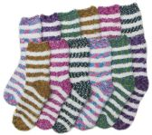 12 Pair Of excell Tiger Stripe Ladies Super Soft Fuzzy Socks, Sock Size 9-11 - Womens Fuzzy Socks