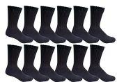 12 Pairs of Men's excell Diabetic Crew Socks, Ringspun Cotton, Neuropathy Edema Socks, King Size (Black) - Diabetic Socks