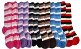 12 Pairs Of excell Womens Striped Butter Soft Fuzzy Knee High Socks - Womens Fuzzy Socks
