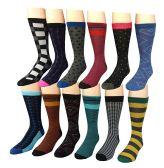 12 Pairs of Excell Mens Dress Socks, Designer Dress Socks for Men (3400) - Mens Dress Sock