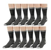 Merino Wool Blend Mens Thermal Hikking Socks by Excell (12 Pack Gray) - Mens Thermals