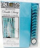 12 Units of Double Swag Fabric Shower Curtain with Vinyl Liner and 12 Roller Shower Rings (Turquoise