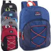 24 Units of Trailmaker 17 Inch Bungee Backpack With Side Pocket - 5 Colors