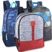24 Units of 17 Inch Daisy Chain Color Block Backpacks - 3 Colors