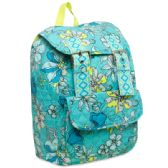 24 Units of 16 Inch Quilted Cotton Backpack - Floral Print - Backpacks 16""