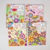 36 Units of Coloring Book Adult Floral 64 Pg 4 Assorted In Pdq - Coloring Books
