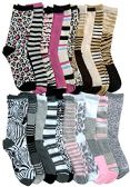 12 Pairs Of WSD Womens Cotton Crew Socks, Soft Touch, Many Colors (20 Pairs Assorted Animal Prints) - Womens Crew Sock