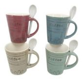 48 Units of 11 Ounce Stoneware Mug with Spoon