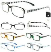 72 Units of Men's Crystal Striped Reading Glasses
