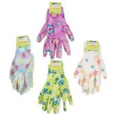 48 Units of Ladies Printed Nitrile Coated Garden Gloves - Gardening Gloves