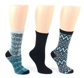 24 Pairs Value Pack of WSD Women's Designer Crew Socks, Ladies Fashion Socks - Snakeskin, Chevron, & Solid Designs