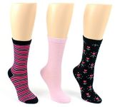 24 Pairs Value Pack of WSD Women's Designer Crew Socks, Ladies Fashion Socks - Striped, Solid, & Floral Designs