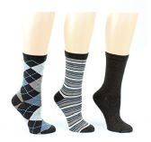 24 Pairs Value Pack of WSD Women's Designer Crew Socks, Ladies Fashion Socks - Argyle, Striped, & Solid Designs