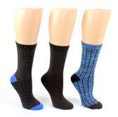 24 Pairs Value Pack of WSD Women's Designer Crew Socks, Ladies Fashion Socks - Ribbed, Solid, & Patterned Designs