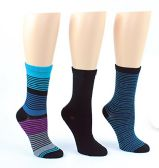24 Pairs Value Pack of WSD Women's Designer Crew Socks, Ladies Fashion Socks - Striped & Solid Prints