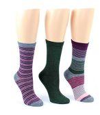 24 Pairs Value Pack of WSD Women's Designer Crew Socks, Ladies Fashion Socks - Striped & Solid Prints