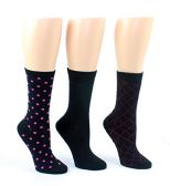 24 Pairs Value Pack of WSD Women's Designer Crew Socks, Ladies Fashion Socks - Dotted, Diamond Knit, & Solid Prints