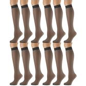 12 Pairs of excell Sheer Trouser Socks for Women, 20 Denier Knee High Dress Socks (Charcoal) - Womens Trouser Sock