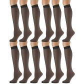 12 Pairs of excell Sheer Trouser Socks for Women, 20 Denier Knee High Dress Socks (Jet Black) - Womens Trouser Sock