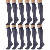 12 Pairs of excell Sheer Trouser Socks for Women, 20 Denier Knee High Dress Socks (Navy)