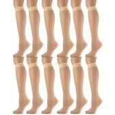 12 Pairs of excell Sheer Trouser Socks for Women, 20 Denier Knee High Dress Socks (Tan) - Womens Trouser Sock