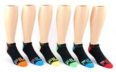30 Pairs Value Pack of WSD Men's Ankle Socks (Size 10-13), Black / Colorful Heel and Toe - Mens Ankle Sock