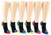30 Pairs Value Pack of WSD Women's No-Show Socks (Size 9-11), Black / Colorful Heel and Toe - Womens Ankle Sock