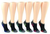 30 Pairs Value Pack of WSD Women's No-Show Socks (Size 9-11), Black / Gray / Colorful - Womens Ankle Sock