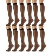 12 Pairs of excell Sheer Trouser Socks for Women, 20 Denier Knee High Dress Socks (Jet Brown) - Womens Trouser Sock