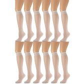 12 Pairs of excell Sheer Trouser Socks for Women, 20 Denier Knee High Dress Socks (White)