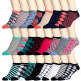 360 Units of Womens Printed Ankle Socks - Womens Ankle Sock