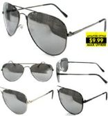 48 Units of Metal Aviator Sunglasses with Silver Mirror Lenses