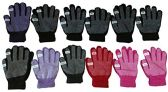12 Pair excell Womens Winter Gripper Glove With Pop Off Fingers For Texting - Winter Gloves