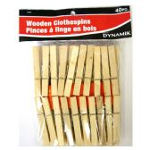 72 Units of 40 PIECE WOODEN CLOTHESPINS