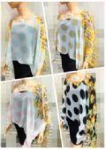 24 Units of Womens Fashion Top Polka Dot Multi Colored Sleeve - Womens Fashion Tops