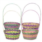 24 Units of Easter Basket Oval Bamboo 4ast Extra Large 14.5 X 11.5d X 6inh 21inh W/fixed Handle Easter Ht