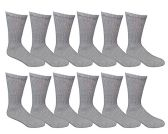 12 Pairs of Mens Sports Crew Socks, Wholesale Bulk Pack Athletic Sock, by SOCKSNBULK (Gray, 10-13) - Mens Crew Socks
