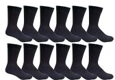 12 Pairs of Mens Sports Crew Socks, Wholesale Bulk Pack Athletic Sock, King Size, by excell (Black, 13-16)