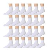 24 Pairs of Kids Sports Ankle Socks, Wholesale Bulk Pack Athletic Sock for Girls and Boys, by excell (White, 4-6)