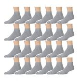 24 Pairs of Kids Sports Ankle Socks, Wholesale Bulk Pack Athletic Sock for Girls and Boys, by excell (Gray, 6-8)