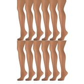 12 Pack of Mod & Tone Sheer Support Control Top 30D Womens Pantyhose (Honey, X-Large) - Womens Pantyhose