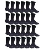 24 Pairs of Mens Sports Crew Socks, Wholesale Bulk Pack Athletic Sock, King Size, by excell (Black, 13-16)