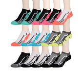 15 Pairs of WSD Womens High Performance Ankle Socks Low Cut Cushioned (Pack C) - Womens Ankle Sock