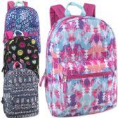 "24 Units of 17 Inch Printed Backpacks - Girls Assortment - Backpacks 17"""
