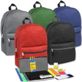 12 Units of Preassembled 17 Inch Backpack & 12 Piece School Supply Kit - Solid Colors - Backpacks 17""