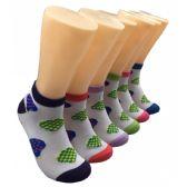 480 Units of Women's Heart Printed Low Cut Ankle Socks