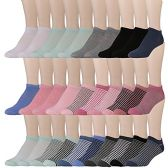 30 Units of Yacht & Smith Womens 9-11 No Show Ankle Socks Assorted Prints, Solid Pastels - Womens Ankle Sock
