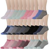 30 Units of Yacht & Smith Womens 9-11 No Show Ankle Socks Assorted Prints, Assorted Solids - Womens Ankle Sock