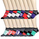 16 Pairs of WSD Womens Ankle Socks, Low Cut Sports Sock - Assorted Styles (Space Dye B, 9-11) - Womens Ankle Sock